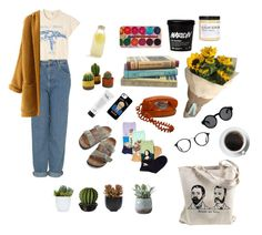 """""""what's-in-an-artists-bag"""" by mikaela-obrien ❤ liked on Polyvore featuring MadeWorn, Birkenstock, Bormioli Rocco, Topshop, PLANT, HOT SOX, Ray-Ban, philosophy, Monki and Lux-Art Silks"""