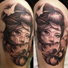 Geisha with lotus. Love the negative space butterfly