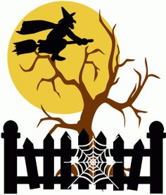 Silhouette Design Store: witch with moon and tree halloween