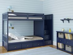 Stylish all blue boy's bedroom with dark blue bunk bed, light blue walls and rug