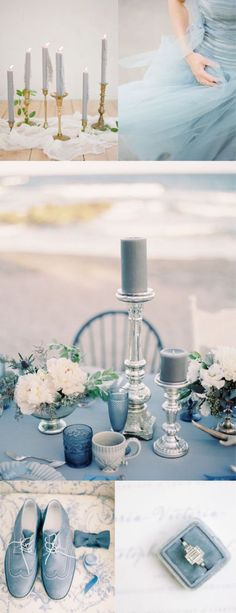 A selection of images to inspire. Luxury dusky blue styling, tablescape, table decor and floral bouquet ideas. Something Blue! Small Wedding Decor, Outdoor Wedding Favors, Garden Wedding Decorations, Wedding Ideas, Dusky Blue Wedding, Blue Beach Wedding, Blue Color Schemes, Wedding Color Schemes, Wedding Colors