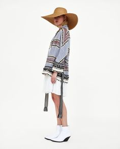Image 3 of STRIPED KIMONO WITH POMPOMS from Zara