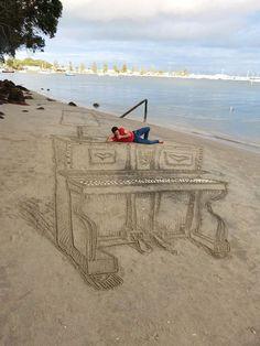Sand Art   Un piano en 3D par Jamie Harkins Photo