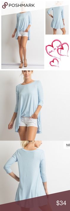 Light Blue 3/4 Sleeves A-Line Tunic Top S, M, L Light Blue 3/4 Sleeves A-Line Tunic Top  Fabric: 95% Rayon 5% Spandex.  FIT: Woman's size Small (2-4) Medium (6-8) Large (10-12). True to size. 🚫No Trades🚫 ✅Reasonable Offers Are Considered✅ Use the blue offer button. Tops Tunics