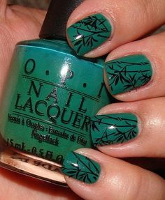 OPI Jade Is The New Black with black cream stamped bamboo