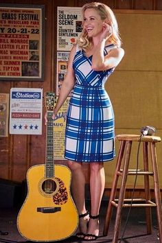 Reese Witherspoon wearing Draper James Road Blues Dress in Colonial Blue Road Blues Check