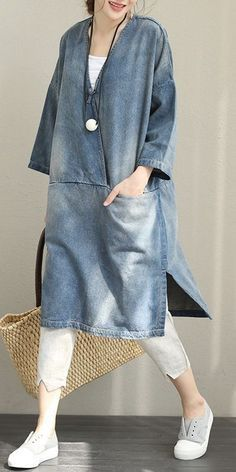 Vintage Loose Blue Denim Dresses Women Cotton Fall Outfits Vintage lose blaue Jeanskleider Frauen Baumwolle Herbst Outfits The post Vintage Loose Blue Denim… Denim Fashion, Trendy Fashion, Boho Fashion, Girl Fashion, Fashion Outfits, Fashion Vintage, Fashion Fall, Dress Fashion, Fashion Clothes