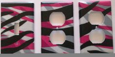 Hot Pink Zebra Stripe Light Switch Outlet Plate Decor Girls Bedroom Wall Decor. Different plate styles available.