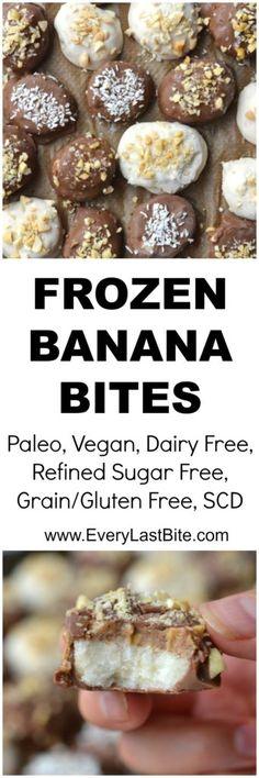 Frozen Banana Bites Dipped in Vanilla and Chocolate