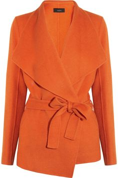 joseph belted orange wool & cashmere felt coat