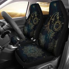 Sit comfortably on our blue and gold seat covers that protect your car seats from stains and fading. Order a set of Sun and Moon car seat covers from YesWeVibe. Jeep Seat Covers, Jeep Seats, Cool Car Seat Covers, Van Seat Covers, Car Seat Cover Sets, Car Buying Guide, Cute Car Accessories, Interior Accessories, Car Goals
