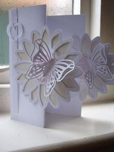 DOUBLE FOLD BACK CARD SIL STUDIO on Kraft sprint designed by Clive Couter - studio files; double fold back card with layered butterfly and full instructions - Now available for download!