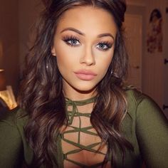 beautiful eye make up, contouring, false lashes, nude lipstick lips, winged eyeliner, light smokey eye soft, wavy hair, hoops earrings