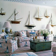 If you have to be on land.this is your room.Sail Away - Coastal Design Trendsetter: Anthony Baratta - Coastal Living Coastal Bathrooms, Coastal Living Rooms, Coastal Cottage, Coastal Decor, Coastal Curtains, Coastal Farmhouse, Coastal Entryway, Coastal Rugs, Coastal Lighting