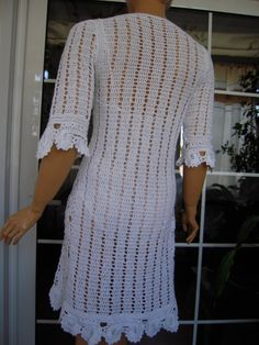 Handmade crochet lace dress with flowers in white by GoldenYarn