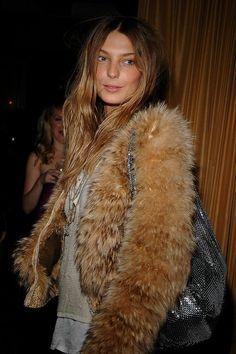 Daria in a cool fuzzy jacket #style #fashion #modeloffduty