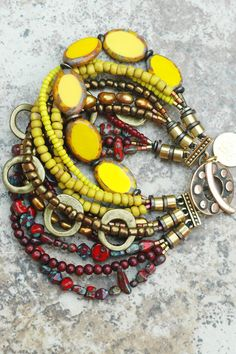 Bracelet | Cuff | Burgundy | Yellow | Bronze | Funky | XO Gallery | XO Gallery