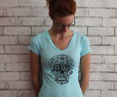 Sugar Skull Tshirt Women's cotton vneck shirt by CausticThreads, $20.00