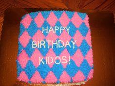 argyle birthday cake for boy and girl