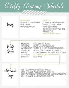 Weekly Cleaning Schedule idea -- i like this one better than what I do. Except floors need vacuumed daily and I like to do laundry every day so maybe Sunday can be free ...