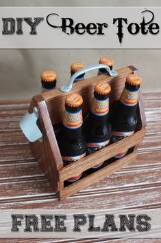 Here's the perfect gift for the beer lover in your life! FREE PLANS on how to build this wood beer totes with bottle opener. #coolwoodwork