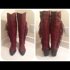 Carlos by Carlos Santana Tall Boots Carlos by Carlos Santana Lever Western Boots. Suede upper. Color: brownish red/mustang. Size: 9.5M. No box. Great condition. Worn once. Carlos Santana Shoes Heeled Boots