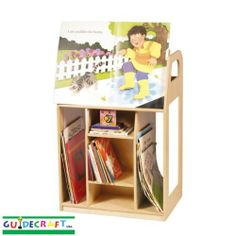 Book Trolley Book Trolley by Guidecraft. $367.50. Please refer to SKU# ATR14354646 when you inquire.. This product may be prohibited inbound shipment to your destination.. Picture may wrongfully represent. Please read title and description thoroughly.. Brand Name: Guidecraft Mfg#: G98002. Shipping Weight: 56.00 lbs. G98002 BOOK TROLLEY.Features an easel for displaying books, two sections for big.books, six sections for smaller books and write on/wipe off panels..Birch constr...