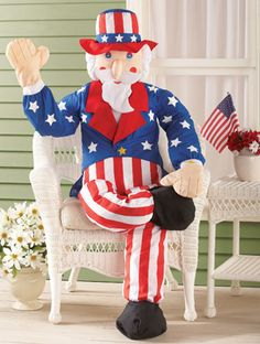 "Uncle Sam Porch Greeter Stuffable Patriotic Decoration 60""L x 12""W"