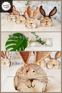 Make rabbits out of wooden discs (firewood / logs) yourself, also for bast . - Make rabbits out of wooden discs (firewood / logs) yourself, also suitable for handicrafts with chi - Yarn Crafts, Diy And Crafts, Arts And Crafts, Happy Easter, Easter Bunny, Wallpaper Headboard, Firewood Logs, Diy Décoration, Easy Diy