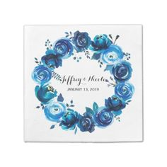 #country - #Rustic Blue Floral Country Barn Wedding Paper Napkin
