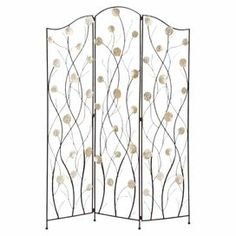 "Room divider with an open branch silhouette. $140 Joss and Main   Product: Room dividerConstruction Material: Premium grade metal alloyColor: NaturalFeatures:  Rust free hingesWill enhance any decor  Dimensions: 71"" H x 51"" W x 1"" D"