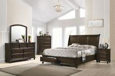 The Cherry Storage Bedroom Set is classic elegance at its finest. With a beautifully curved headboard and footboard, the bed has a regal appearance. *Quick Ship Available for Local Delivery DIMENSIONS W x D x H Canopy Bedroom Sets, King Bedroom Sets, Queen Bedroom, Storage Bed Queen, Bedroom Storage, Platform Bedroom, Headboard And Footboard, Queen Headboard, High Quality Furniture