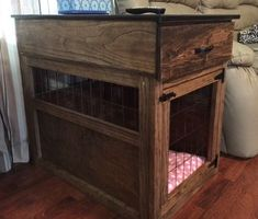 (paid link) How To build An Indoor Dog Kennel. #diydogcrate Cheap Dog Kennels, Diy Dog Kennel, Kennel Ideas, Dog Crate Cover, Diy Dog Crate, Dog Crate End Table, Dog Kennel End Table, Crate Nightstand, Dog Crate Furniture