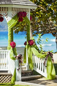 Wedding Gazebo Decorations..love the way the material is wrapped around the columns and softly draped on top