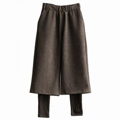 High Quality Wide- Leg Layered Black Pants Wool Cropped Trousers  #trousers #pants #wide-legs #layered #wool #bottom #black #chic #Japan #OL