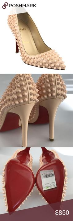 """Christian Louboutin Poudre Pigalle Spike Heels DESCRIPTION Christian Louboutin Pigalle Spikes Patent leather in designer color poudre with spike embellishemnts Size 36 **Please know your size in this style as EU sizing tends to run small**  Heel height 3.5"""" Pointed toe Purchase includes box and dust bag Price tag attached to right sole but starting to come off  DETAILS Type: Platforms Size:EU 36 (Approx. US 6) Width: Regular (M, B) Heel Height: High 3""""-4"""" Heel Style: Stiletto Brand:Christian…"""