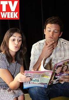 Lea and Cory looking through TV Week Magazine in 2010