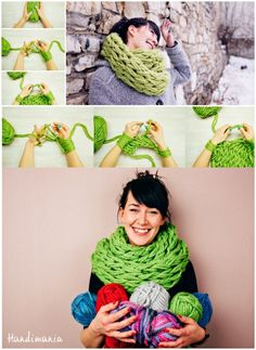 30 Minute Arm Scarf - no needles required make it with your arms!