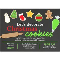 christmas cookie invitation printable or printed with free shipping cookie swap exchange birthday baby shower cookie decorating