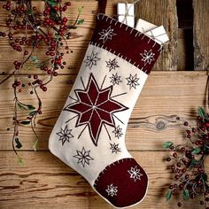 North Star Felt Stocking Put the finishing touches on your Christmas decorating with this North Star stocking. This felt stocking features a deep red tip and a deep red border along the Quilted Christmas Stockings, Christmas Stocking Pattern, Felt Stocking, Xmas Stockings, Stocking Ideas, Farmhouse Christmas Decor, Outdoor Christmas Decorations, Christmas Projects, Christmas Holidays