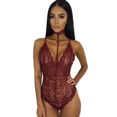 b6be31a147 Sexy Black Lace Bodysuit Slim Deep V Neck Halter Sleeveless Women Overalls  Playsuit Night Club Rompers