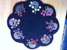 Floral basket wool penny rug