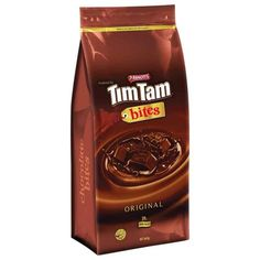 The delicious combination of unique Tim Tam chocolate, luscious chocolate cream and crunchy chocolate biscuit. Seventy-eight bite-size pieces wrapped in twin packs and packaged in a bulk bag perfect for sharing (if you can! Tim Tam, Chocolate Biscuits, Chocolate Cream, Bite Size, Crackers, Pastries, Twin, Chips, Unique
