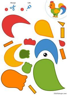 Decoupage und Collage eines Hahns, Kindergartenkinder - Top Of The World Animal Crafts For Kids, Animals For Kids, Art For Kids, Preschool Learning Activities, Kids Learning, Activities For Kids, Stuffed Animal Patterns, In Kindergarten, Projects For Kids