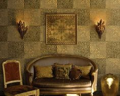 DIY Projects Using Wallpaper: Make your own hanging wall art with a few wallpaper scraps. Roll the top and bottom of the wallpaper over a wooden dowel and Hanging Wall Art, Cool Walls, Luxury Life, Stone Art, Luxury Furniture, Wall Design, Decoration, Love Seat, Lounge