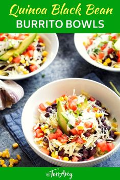 Quinoa Black Bean Burrito Bowls - Cilantro lime quinoa with simmered black beans, lettuce & your choice of toppings. Easy to customize to your taste A great healthy breakfast, lunch or dinner! Black Bean Burrito, Black Bean Quinoa, Bean Recipes, Lunch Recipes, Aloo Recipes, Milk Recipes, Cake Recipes, Burritos, Healthy Dinner Recipes