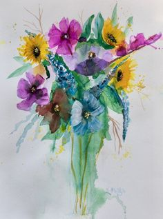 Lilac Flowers, Red Roses, Bird Artists, Irish Landscape, Irish Art, Pretty Art, Art Market, Watercolour Painting, Flower Vases