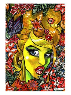 Flower Girl 1 by ZombiePortraitscom on Etsy Zombie Art, Creative Inspiration, Unique Jewelry, Handmade Gifts, Flowers, Painting, Etsy, Vintage, Kid Craft Gifts