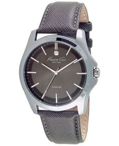 Kenneth Cole New York Men's Diamond Accent Gray Leather Strap Watch 44mm 10027419 - Gray