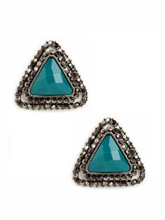 Our Teal Triangle Studs